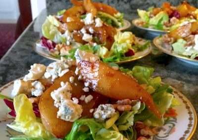 personal chef dinner roasted pear salad