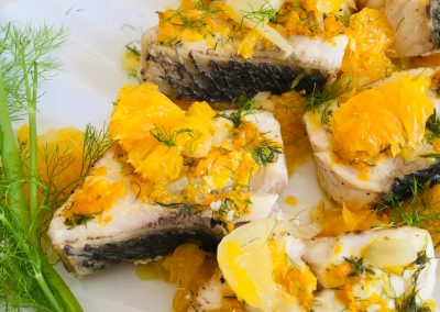 Sea Bass with orange and fennel compote